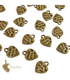 Ciondolo Cuore Made with Love 12,5x10 mm Colore Bronzo Antico