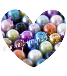 Perle Vetro Cerato 8 mm Misto Rosa (50 pezzi)