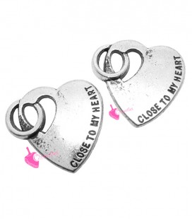 "Ciondolo Cuore ""Close to My Heart"" 22x20 mm color Argento Antico"