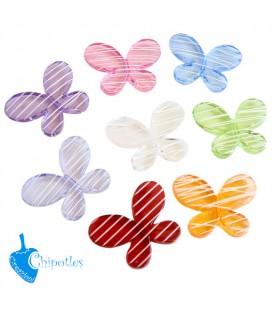 Perle Miste Farfalla a Righe 46x34,5x8 mm Acrilico (3 pezzi)