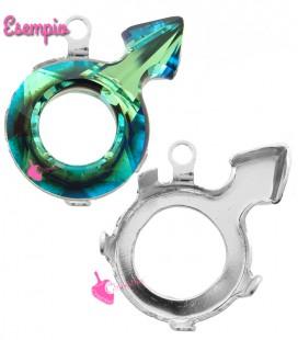 Castone con Anellino per Swarovski® Male Symbol 4878 18x11,5 mm Fondo Aperto Rodio