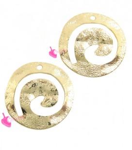 Elemento Tribale Tondo Martellato Spirale 18 mm con 1 Foro Ottone Oro Chiaro