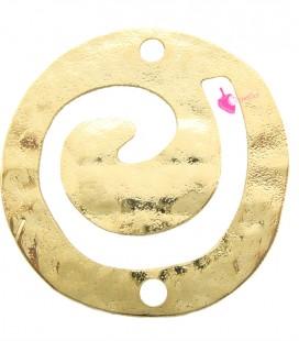 Elemento Tribale Tondo Martellato Spirale 30 mm Ottone colore Oro Chiaro
