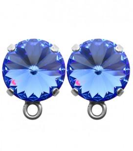 Base Orecchini a Perno con Rivoli 12 mm Sapphire