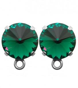 Base Orecchini a Perno con Rivoli 12 mm Emerald