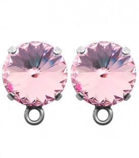 Base Orecchini a Perno con Rivoli SWAROVSKI® 12 mm Light Rose