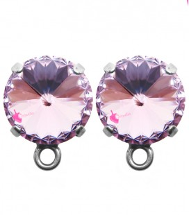Base Orecchini a Perno con Rivoli SWAROVSKI® 12 mm Light Amethyst