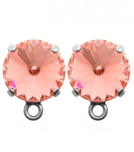 Base Orecchini a Perno con Rivoli 12 mm Rose Peach