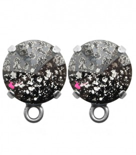 Base Orecchini a Perno con Rivoli SWAROVSKI® 12 mm Crystal Black Patina