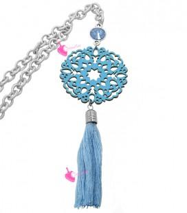 Kit Bijoux Collana Lunga con Inserto in Pelle e Nappina Azzurra