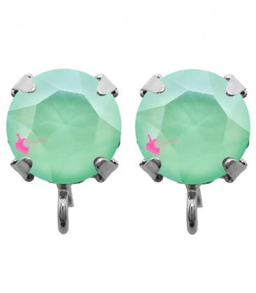 Base Orecchini a Perno con Swarovski SS39 Crystal Mint Green