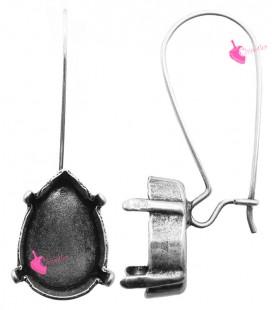 Monachelle Lunghe con Castone per Goccia Swarovski 4320 14x10 mm (1 paio)