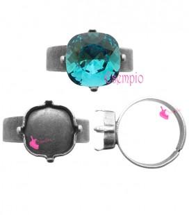 Base Anello con Castone per SWAROVSKI® 4470 10 mm color Argento Antico