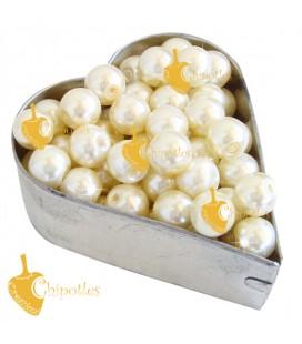 Perle 8 mm Vetro Cerato color Crema (100 pezzi)