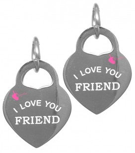 "Ciondolo Cuore ""I Love You Friend"" 17x13 mm Acciaio Inossidabile"