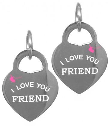 """Ciondolo Cuore """"I Love You Friend"""" 17x13 mm Acciaio Inossidabile"""
