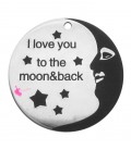 "Ciondolo Medaglia ""I Love You to the Moon and Back"" 25 mm Acciaio Inossidabile"