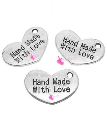 """Ciondolo Cuore """"Hand Made With Love"""" 15x10 mm colore Argento Antico"""