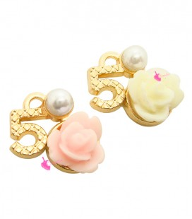 Ciondolo N° 5 - Numero Cinque Oro 13x14 mm con Rosellina e Perla Vari Colori