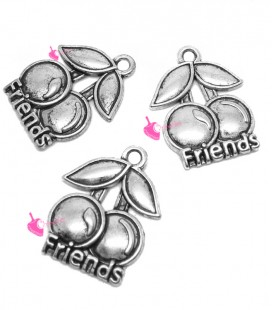 Ciondolo Ciliegie Friends 20x16 mm color Argento Antico