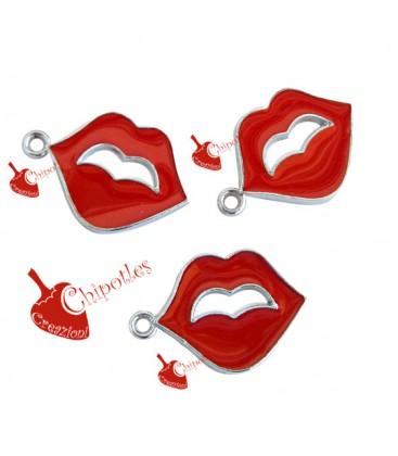 Ciondolo Labbra Rosse Smaltate 24x17 mm