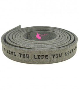 "Cordoncino Piatto Pelle 10 mm ""Live the Live you Love"" Grigio (18 cm)"
