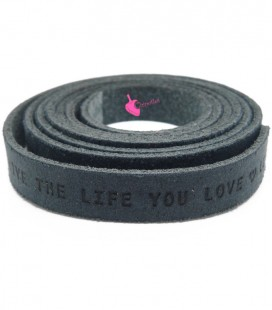 "Cordoncino Piatto Pelle 10 mm ""Live the Live you Love"" Blu Denim"