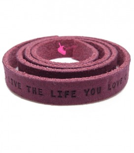 "Cordoncino Piatto Pelle 10 mm ""Live the Live you Love"" Melanzana"