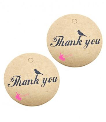 Etichette Targhette Tonde Carta Thank you per Bijoux (20 pezzi)