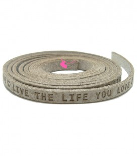 "Cordoncino Piatto Pelle 5 mm ""Live the Live you Love"" Beige"