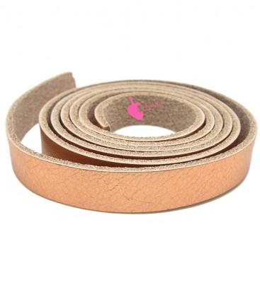 Cordoncino Piatto Pelle 10 mm Oro Rosa Metallizzato (20 cm)