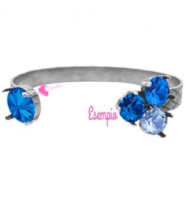 Kit Bijoux Luxury Bracciale Aperto con Swarovski® Rivoli 12 mm e 3 Chaton SS39 colore Argento Antico