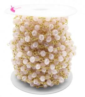 Catena Rosario con Rondelle 6 mm Mezzo Cristallo colore Rosa Chiaro AB (50 cm)