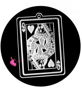 Ciondolo Carta da Poker Donna di Cuori 49x35 mm Plexiglass Trasparente