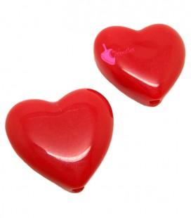 Perla Cuore 19x21 mm colore Rosso Resina