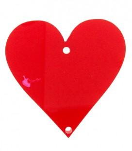 Ciondolo Seme di Cuori Carte da Poker 34x34 mm Plexiglass Rosso