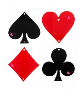 Ciondolo Seme di Fiori Carte da Poker 34x33 mm Plexiglass Nero