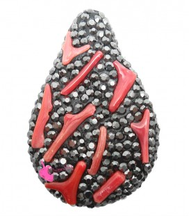 Perla Goccia Marcasite 39x26 mm con Inserti in Corallo
