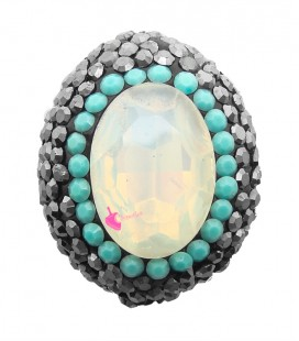 Perla Ovale di Cristallo 25x19 mm con Strass e Marcasite colore White Opal