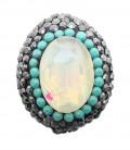 Perla Ovale di Cristallo 25x19 mm con Strass e Marcasite