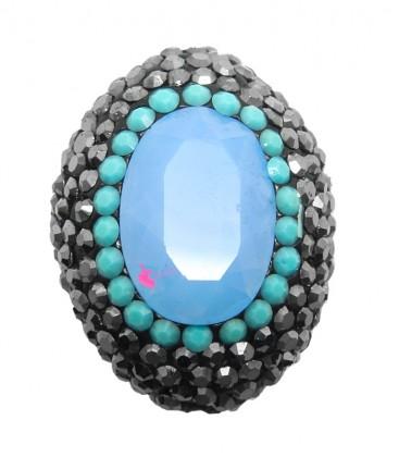 Perla Ovale di Cristallo 25x19 mm con Strass e Marcasite colore Blue Opal