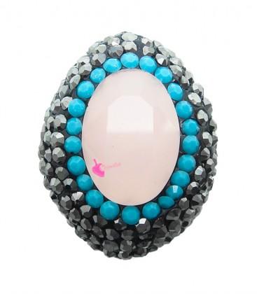 Perla Ovale di Cristallo 25x19 mm con Strass e Marcasite colore Rose Opal