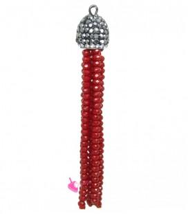 Nappina con Cristalli con Coppetta Ottone, Strass e Marcasite 70x11 mm colore Rosso
