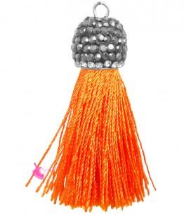 Nappina con Coppetta Ottone, Strass e Marcasite 40-45x11 mm colore Arancione