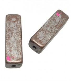 Perla Parallelepipedo 27x8 mm Resina Bronzo e Argento Metallizzato