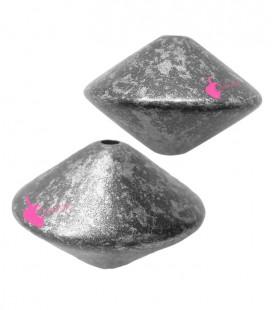 Perla Trottola 16x24 mm Resina Acciaio e Argento Metallizzato