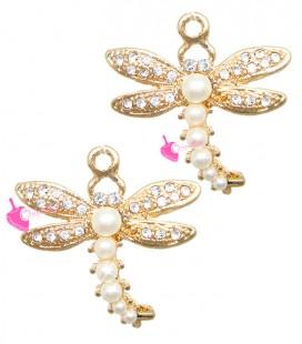 Ciondolo Libellula con Strass e Perle 27x26 mm colore Oro