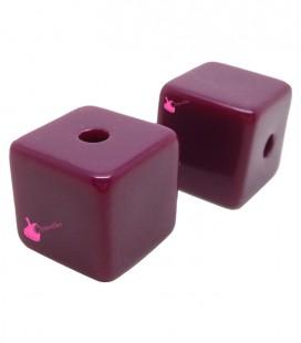 Perla Cubo con Foro Passante 16 mm Resina colore Viola