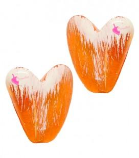 Perla Cuore con Foro Passante 21x20 mm Resina colore Arancione e Bianco