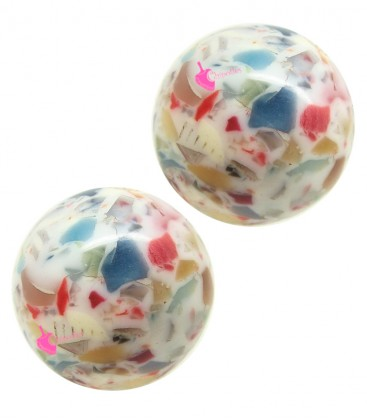 Perla con Foro Passante 21 mm Resina Effetto Mosaico
